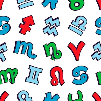 Cute seamless pattern of zodiac signs. hand-drawn illustration