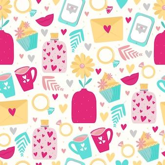 발렌타인 데이 또는 결혼식을 위한 하트, 꽃, 전화, 반지, 연애 편지와 함께 귀여운 매끄러운 패턴입니다. 섬유 디자인, 포장지, 초대장 및 카드에 대한 배경. 귀여운 만화 스타일
