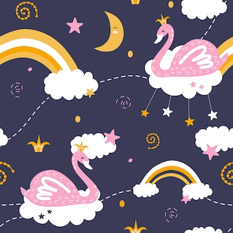 Cute seamless patterns with swans & rainbows