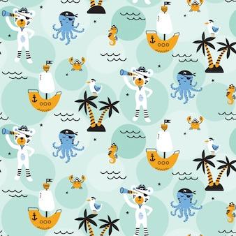 Cute seamless pirate themed pattern