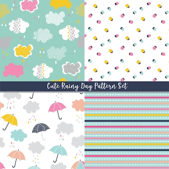 Cute seamless rainy day vector pattern set