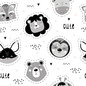 Cute seamless scandinavian pattern with animals
