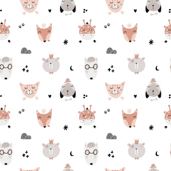 Cute seamless scandinavian patterns with animals.