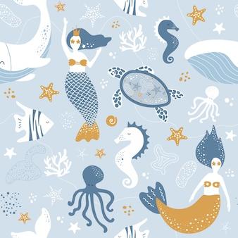 人魚、クジラとタコのかわいいシームレスな海パターン