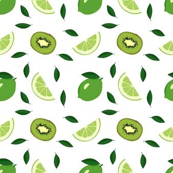 Cute seamless summer citrus and kiwi pattern