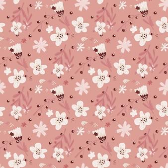 흰 꽃 모양으로 귀여운 원활한 빈티지 패턴