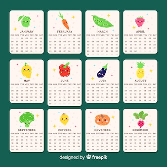 Cute seasonal vegetables and fruits calendar