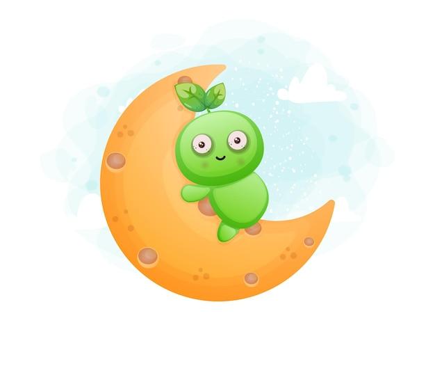 Cute seed character hugging a moon. alien mascot character premium vector