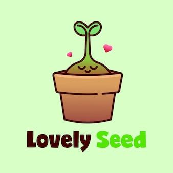 Выращивание семенных растений в логотипе pottery cartoon