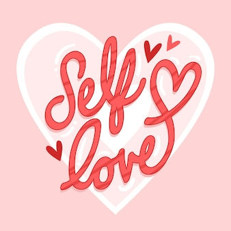Cute self love lettering with heart
