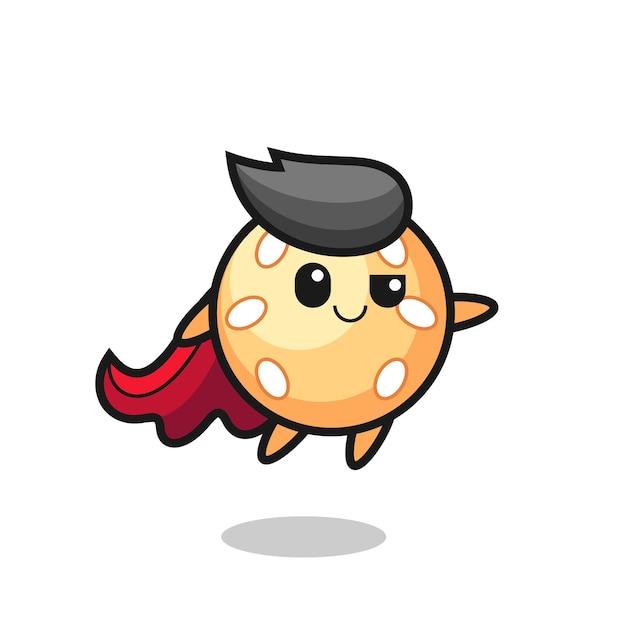 Симпатичный персонаж супергероя с кунжутным мячом летит, милый стильный дизайн для футболки, наклейки, элемента логотипа