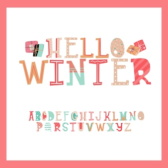Cute set of alphabet christmas present letter typography style design