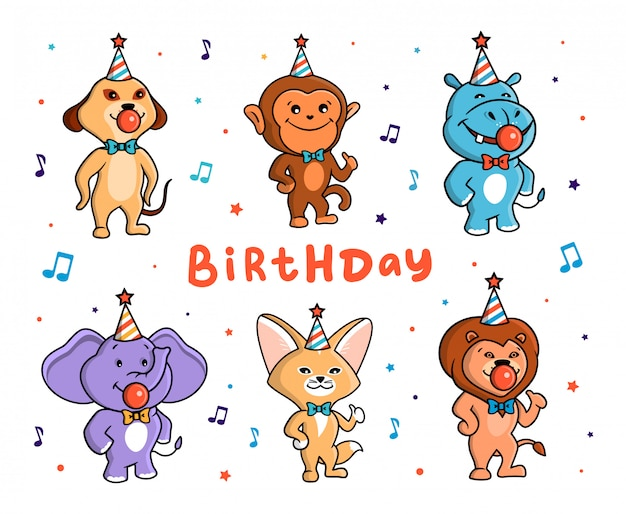 The cute set of animals for a happy birthday. african characters with bow-ties, chewing gums, and hats.