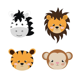 Cute set animals heads isolated icon design