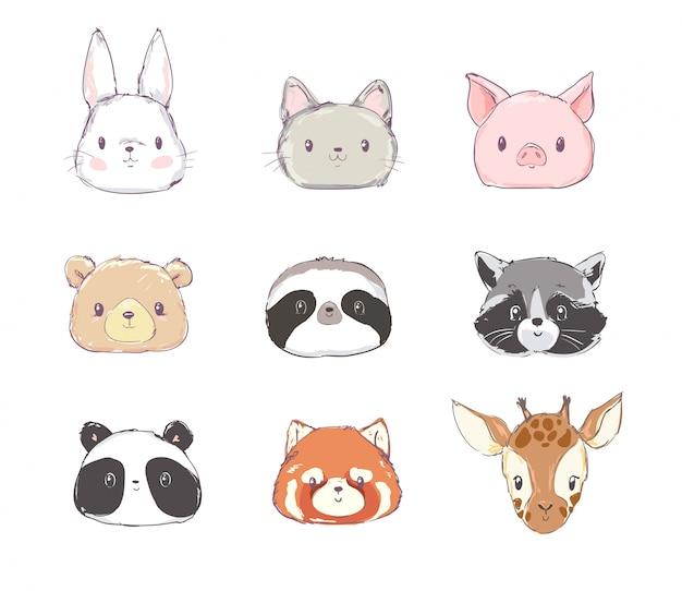 Симпатичный набор животных векторная иллюстрация