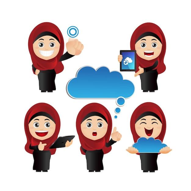 Cute set  arab  business people