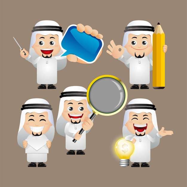 Cute set  arab  set of business people