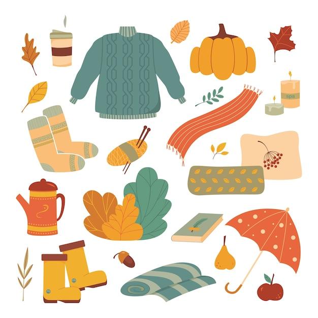 Cute set of autumn cozy elements