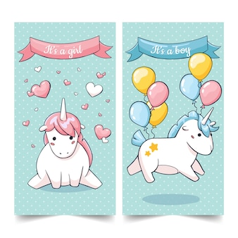 Cute set of birhtday unicorn characters cards in cartoon stile