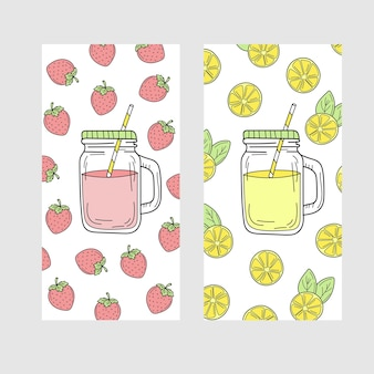 Cute set of bright summer cards with drinks lemon and strawberry