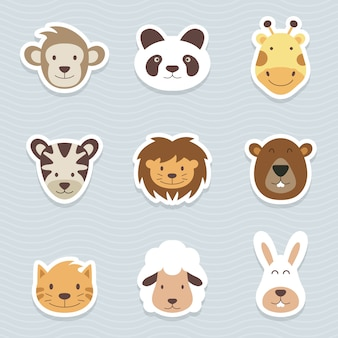 Cute set of cartoon animals stickers