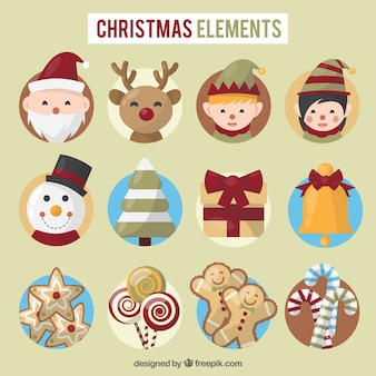 Cute set of christmas elements