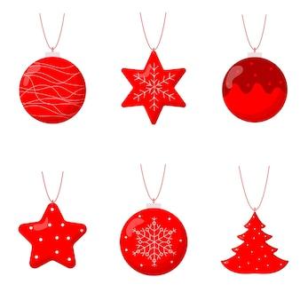 Cute set of christmas tree balls. flat vector illustration
