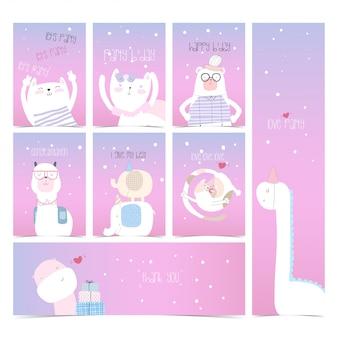 Cute set collection invitation card