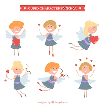 Cute set of cupid characters
