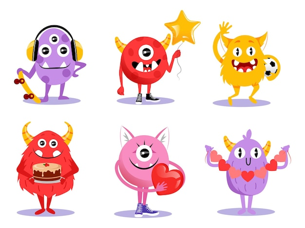 Cute set of different cartoon monsters characters in flat style.  illustration with funny creatures on white background. comic halloween monsters with horns, big teeth and eyes smiling, waving.
