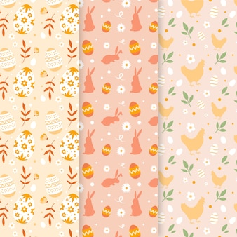 Cute set of easter seamless patterns
