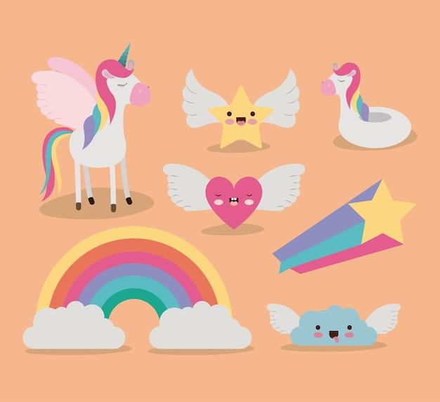 Cute set fantasy elements