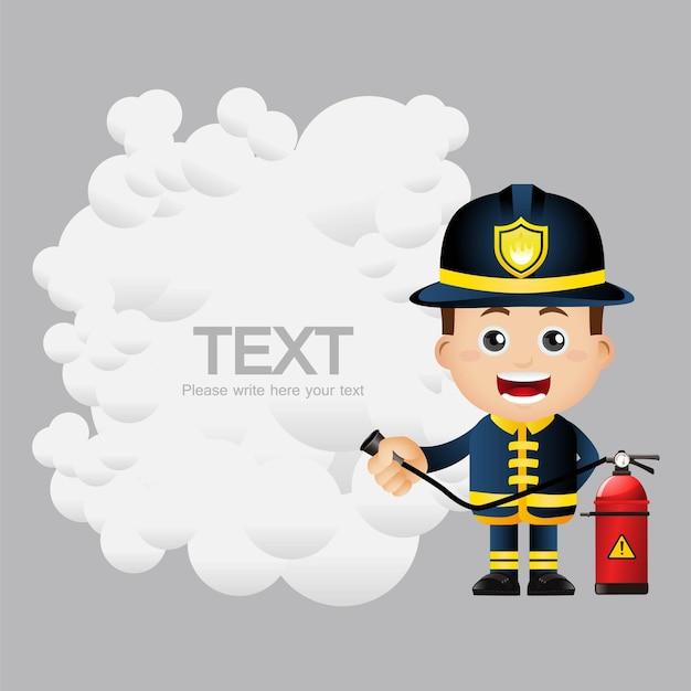 Cute set  firefighter