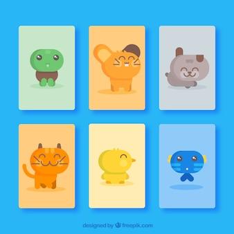 Cute set of flat happy animals