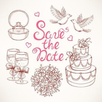 カップルハト、ウエディングケーキ、ブーケとの結婚式のかわいいセット。手描きイラスト。