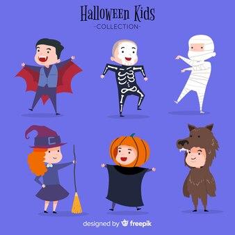 Cute set of halloween kids characters