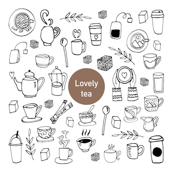 Cute set of hand drawn cups of tea. doodle vector illustration.