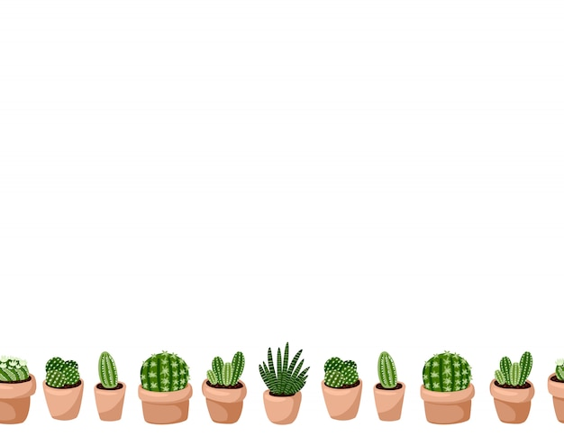 Cute set of hygge potted succulent plants seamless pattern. letter format lagom scandinavian style decoration background texture tile. space for text