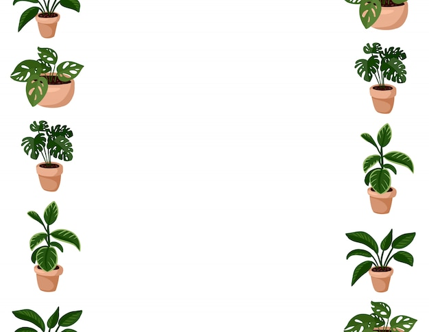 Cute set of hygge potted succulent plants seamless pattern. letter format lagom scandinavian style decoration background texture tile.