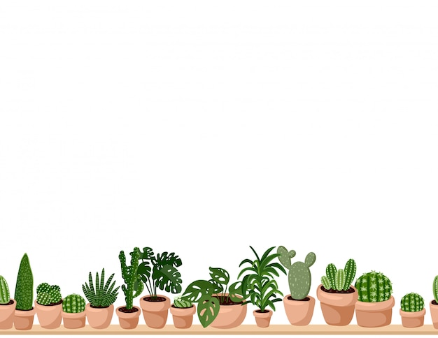 Cute set of hygge potted succulent plants seamless pattern.
