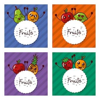 Cute set of kawaii fruits cartoon labels