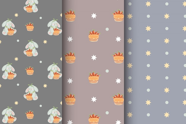 Cute set of kids seamless patterns with rabbits, cakes, carrots and stars
