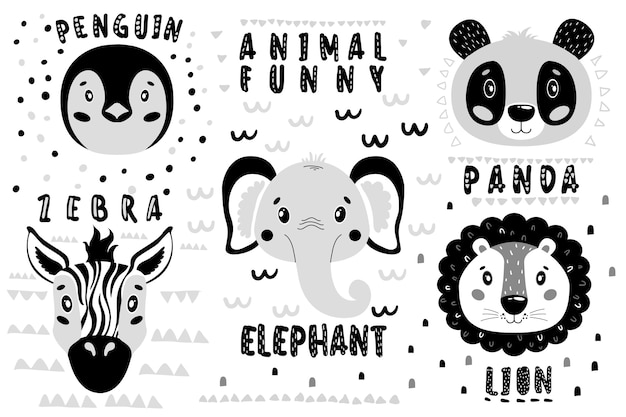 Cute set lion, panda, elephant, zebra, penguin face.