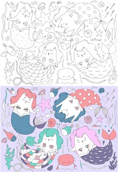 Cute set of mermaid cats in color, seashells, marine theme, children's illustration