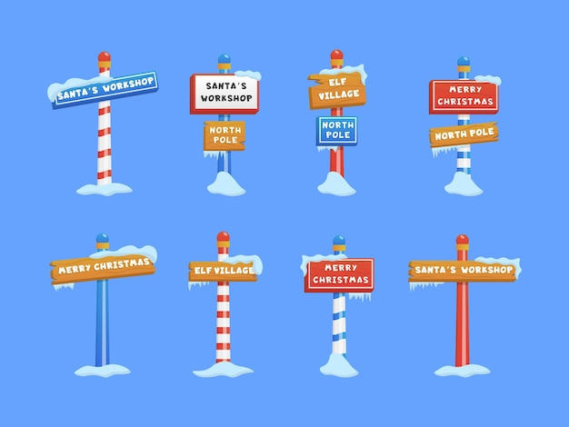 Cute set of north pole signs or christmas and winter themed symbol.