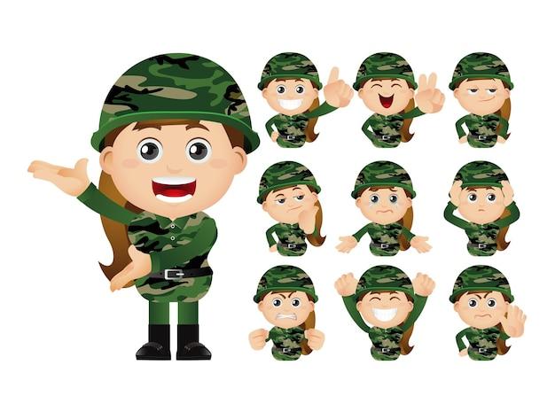 육군 여자의 귀여운 세트