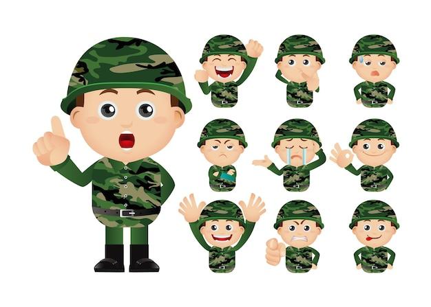 군대의 귀여운 세트 프리미엄 벡터