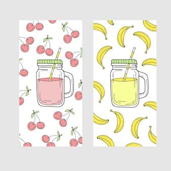 チェリーとバナナの飲み物と明るい夏のカードのかわいいセット