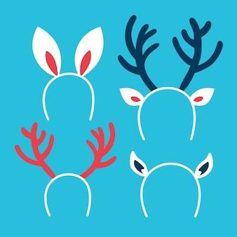 クリスマスヘッドバンド、冬の休日の衣装の一部のかわいいセット。衣装の装飾。トナカイの角とウサギの耳。図