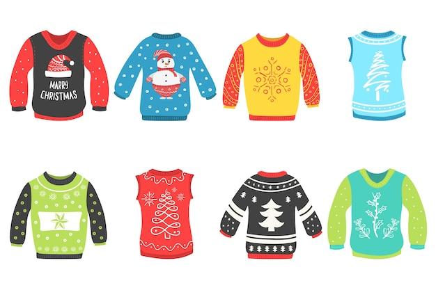 白い背景の上のクリスマスセーターのかわいいセット。